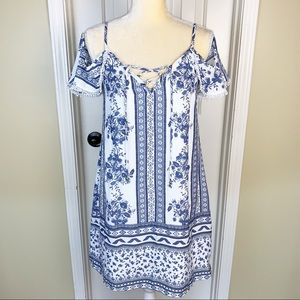 Trixxi Off Shoulder Blue & White Shift Dress Sz S